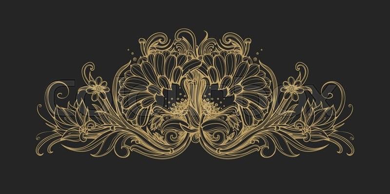 Floral classic frame, border Decorative floral ornament Gold foil - black border background