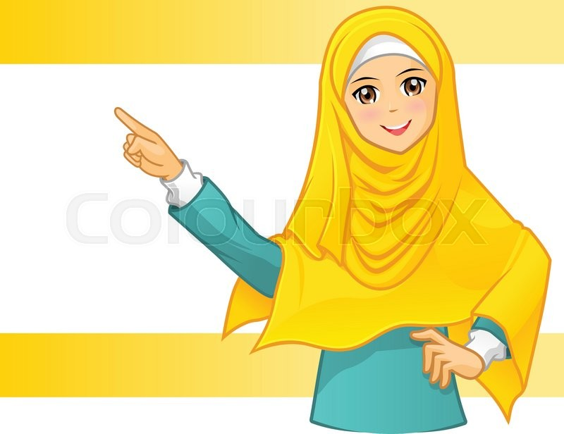 Cute And Stylish Girl Wallpaper Hd Muslim Woman Wearing Yellow Veil With Pointing Arms