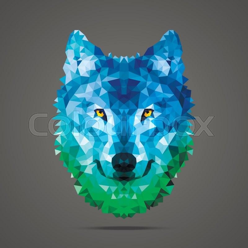 Wolf low poly portrait Gradient blue - green Side light source