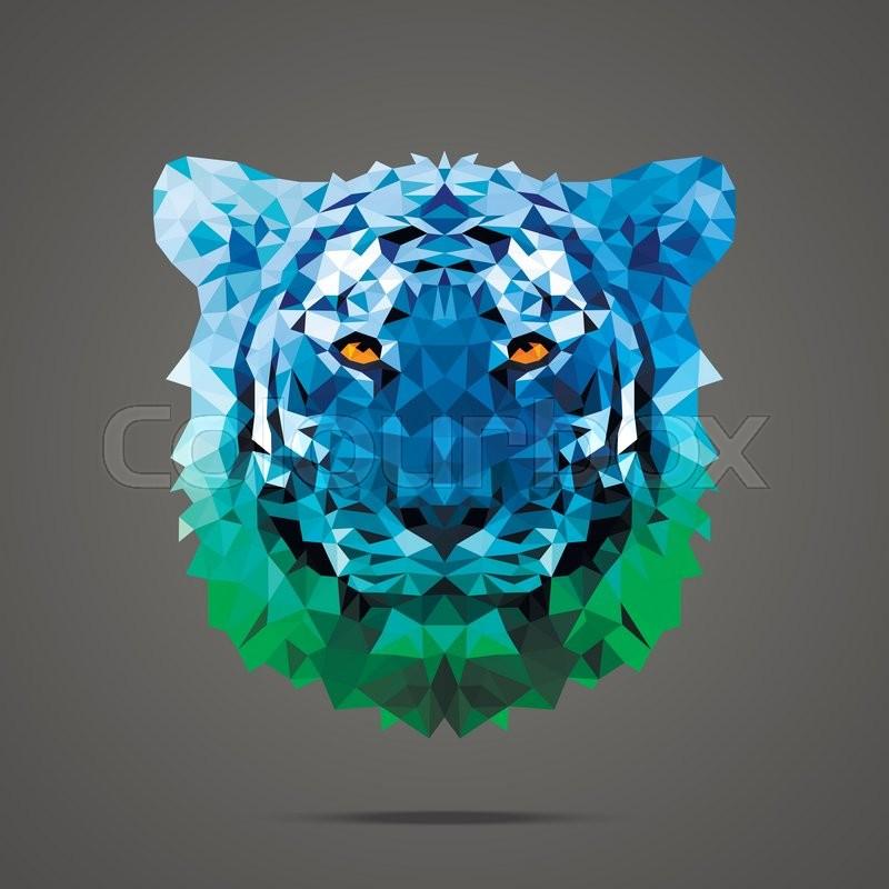 Bengal tiger low poly portrait Gradient blue - green Side light