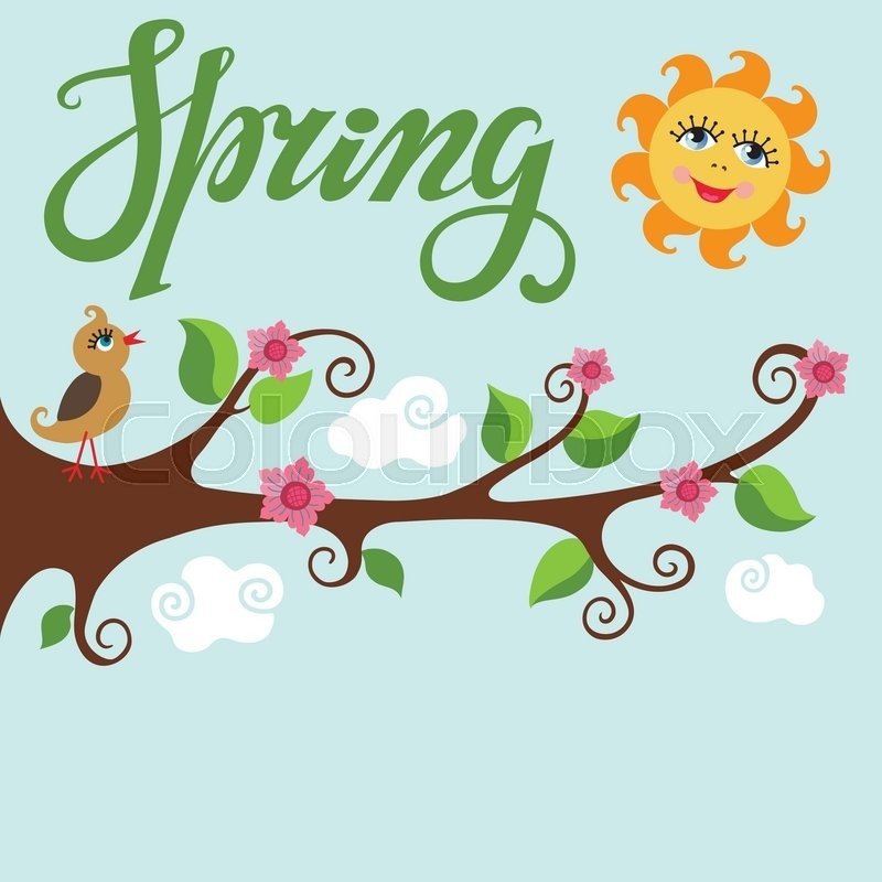 Spring time posterVector Cartoon bird on tree blooming flowers tree