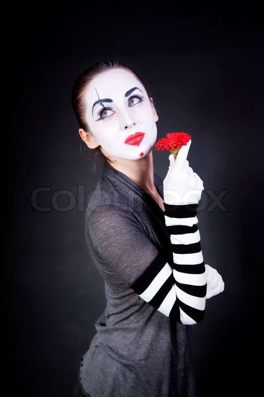Mima Shop Woman Mime With Theatrical Makeup And Red Flower In Hands