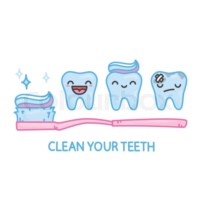 Cute Dental Wallpaper Teeth And Toothbrush Kawaii Cartoon Vector Pack Stock