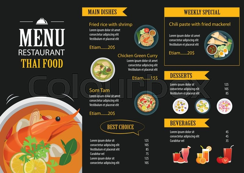 Vector thai food restaurant menu template flat design Stock Vector - food menu template