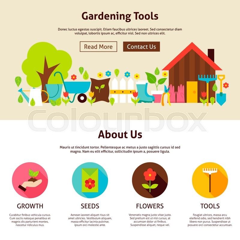 Gardening Tools Flat Web Design Template Vector Illustration for - garden design template