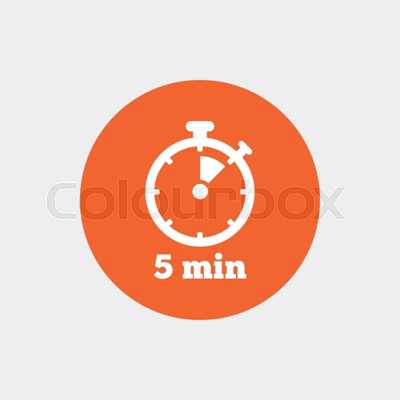 Timer sign icon 5 minutes stopwatch symbol Orange circle button