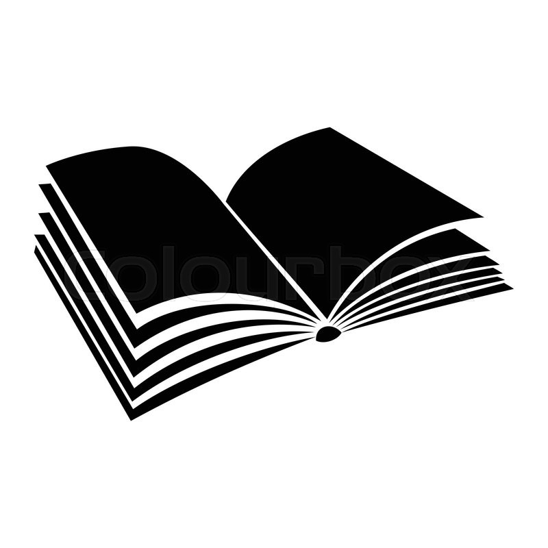 Opened book with pages fluttering black simple icon on a white - opened book