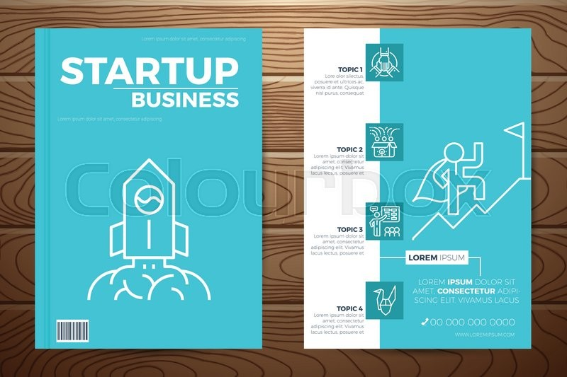 Startup business book cover and flyer Stock Vector Colourbox
