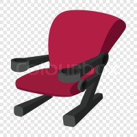 Cinema chair icon in cartoon style on transparent ...