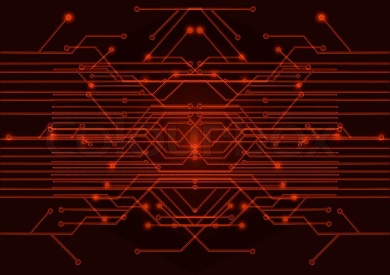 3d Cube Desktop Wallpaper Red Circuit Board On A Black Background Stock Photo