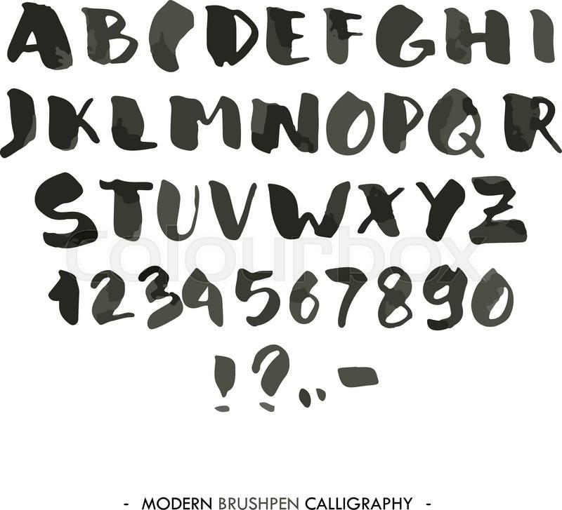 Modern ink Alphabet font ABC painted Stock Vector Colourbox