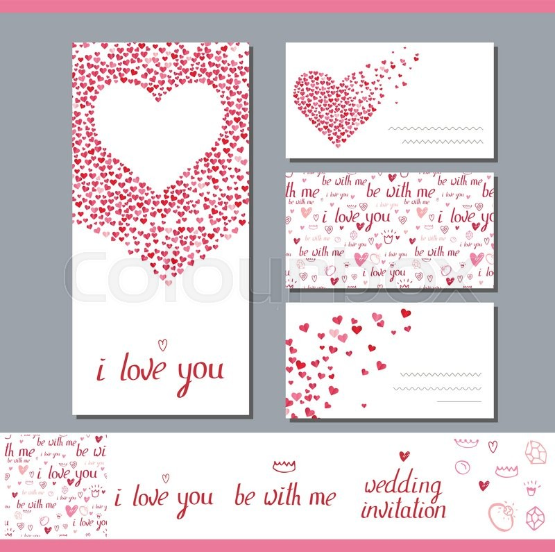 Templates with heart made of small ones Phrase Wedding invitation - love templates