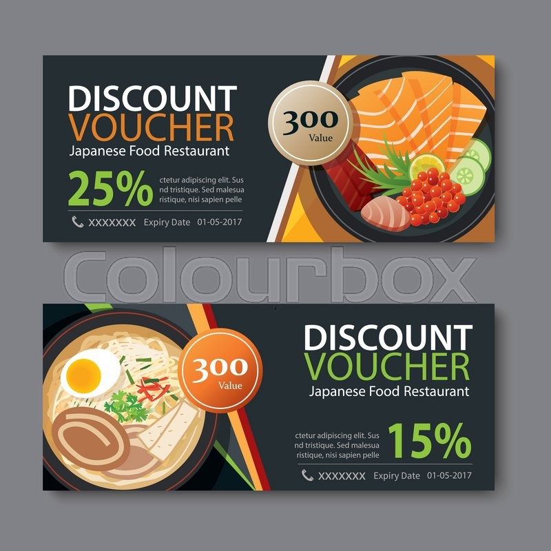 Discount voucher template with japanese food flat design Stock - Lunch Voucher Template