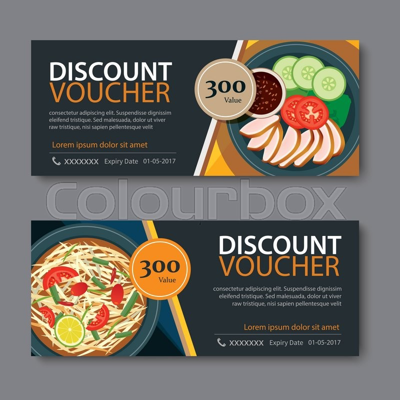 Discount voucher template with thai food flat design Stock Vector - discount voucher design