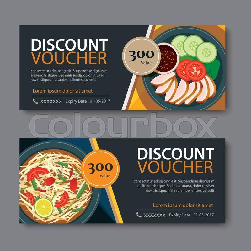 Discount voucher template with thai food flat design Stock - food voucher template