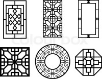 Set of Chinese window with pattern, vector ornament ...