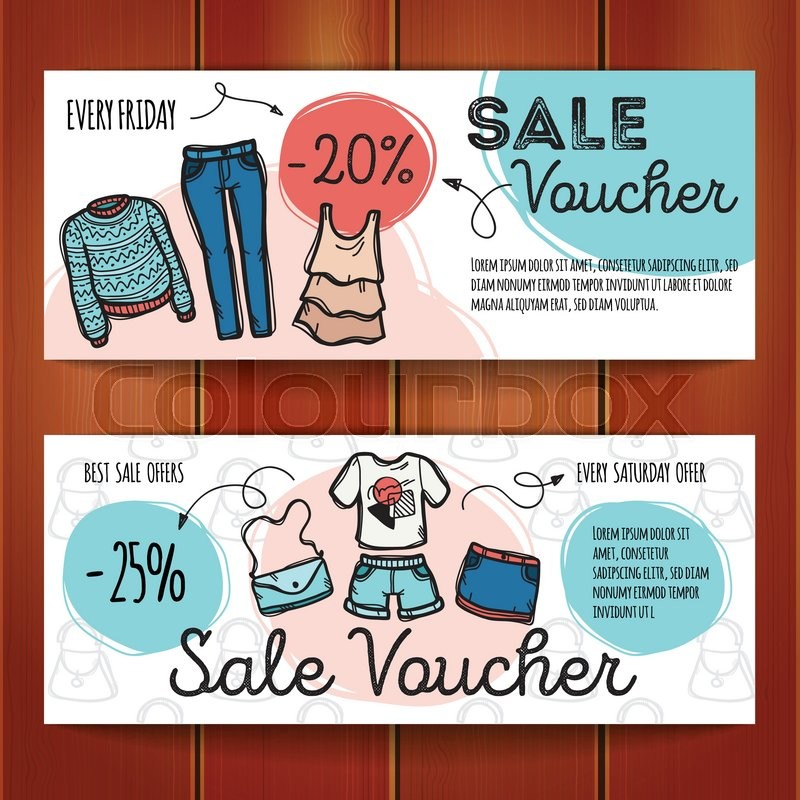 Vector set of discount coupons for woman clothes and accessories - discount coupons templates
