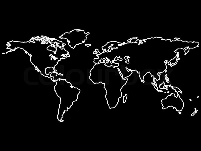 White world map outlines isolated on black background, abstract - Black And Grey World Map
