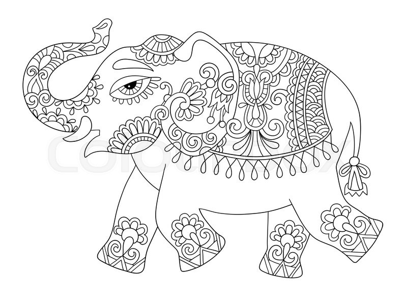 Ethnic indian elephant line original drawing, adults coloring book - best of indian tribal coloring pages