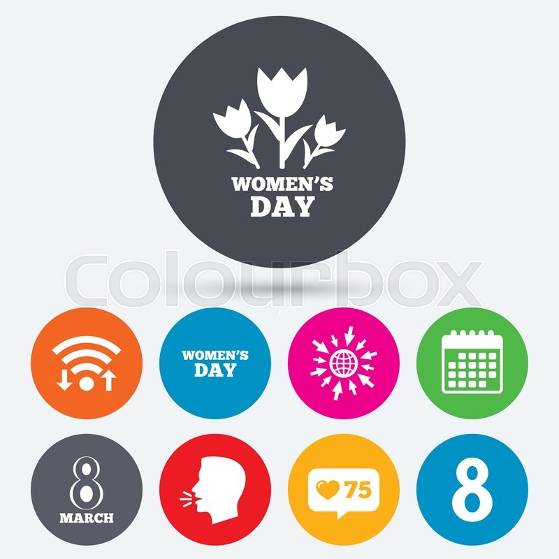 Wifi, like counter and calendar icons Stock Vector Colourbox
