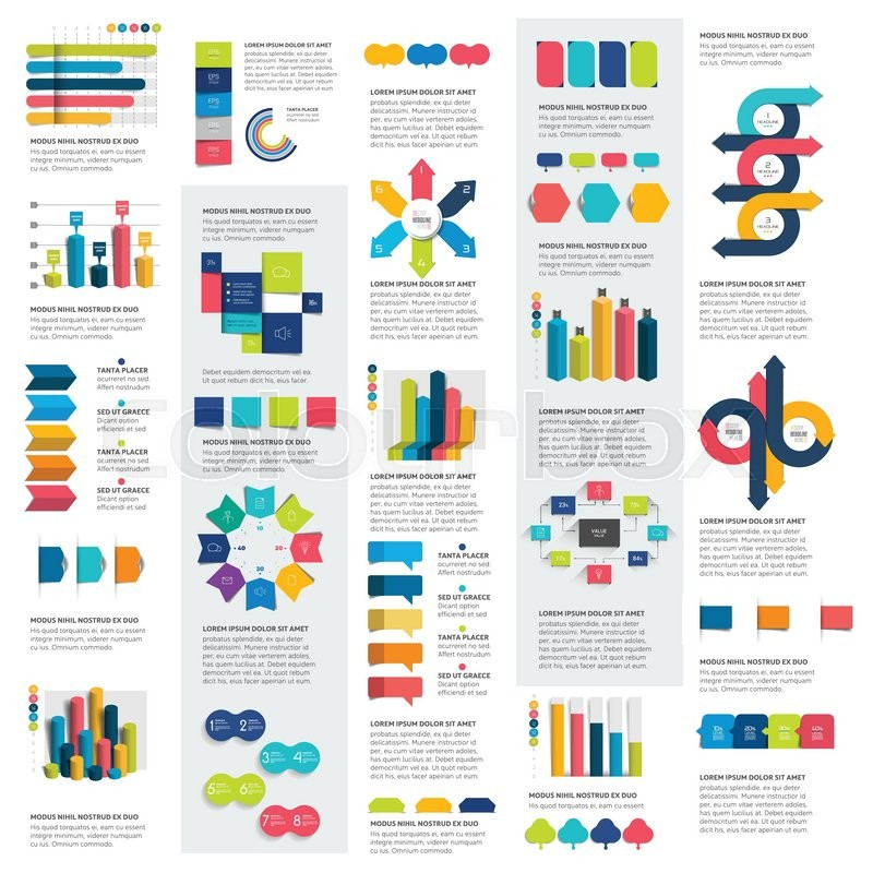Mega set of infographics elements charts, graphs, circle charts