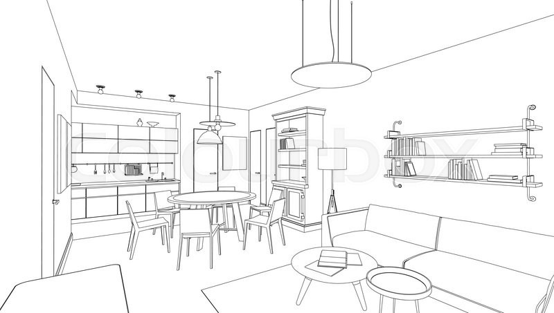 Line Drawing Of The Interior On White Background Stock