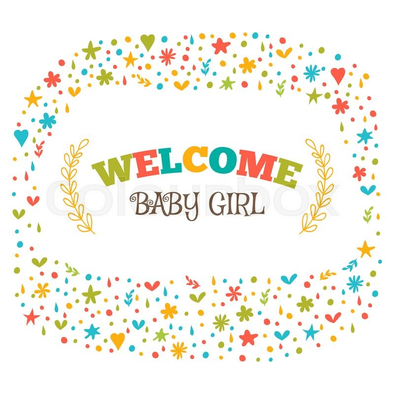 Baby girl shower card Welcome baby girl Baby girl arrival postcard - baby congratulation card