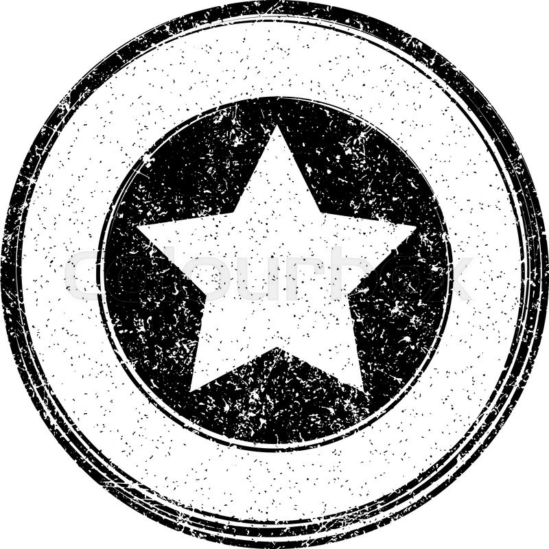 Black vector grunge template with star for rubber stamp Stock - stamp template