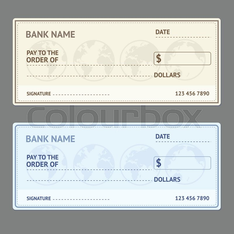 Bank Check Template Set with World Map Stock Vector Colourbox