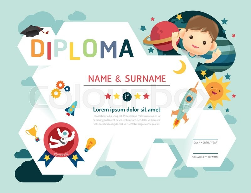 Certificate kids diploma, kindergarten template layout space