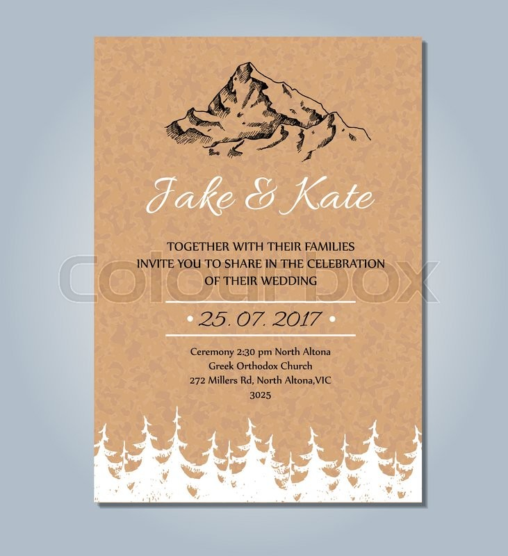 Mountain wedding invitation Vector rustic card template Wedding - wedding card template