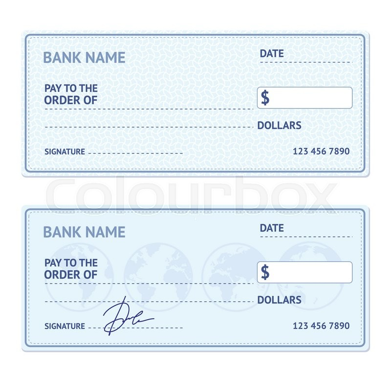 Bank Check Template Set with Modern Stock Vector Colourbox