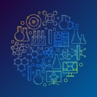 Chemistry concept symbol on dark blue background. Vector ...