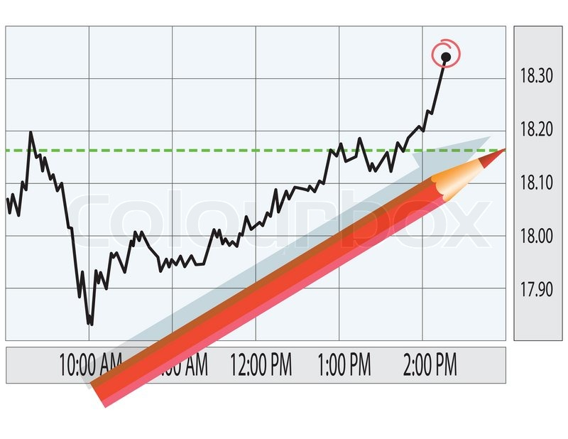 Analysis of stock market graph Finance concept illustration