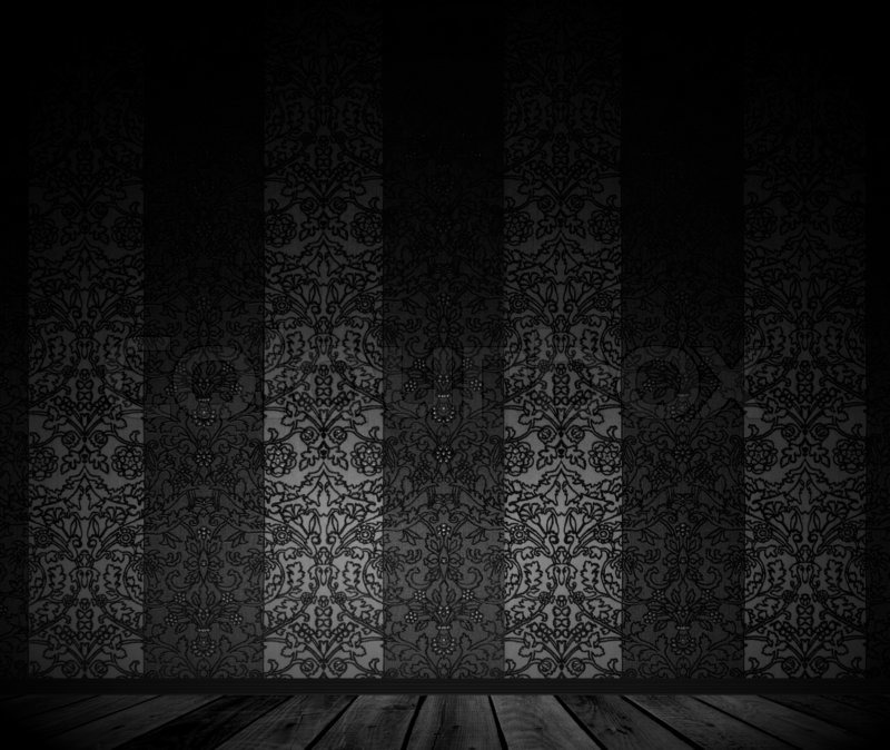 3d Fall Ceiling Wallpaper Dark Empty Room With Vintage Wallpaper Stock Photo