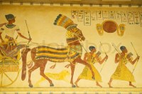 Egyptian concept with paintings on the wall | Stock Photo ...
