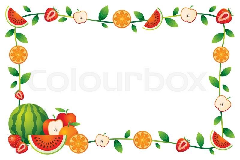 Mixed Fruits Border Frame Stock Vector Colourbox