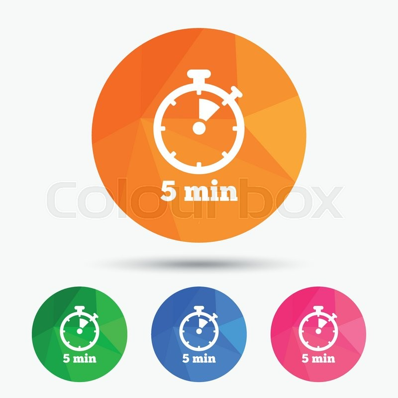 Timer sign icon 5 minutes stopwatch symbol Triangular low poly