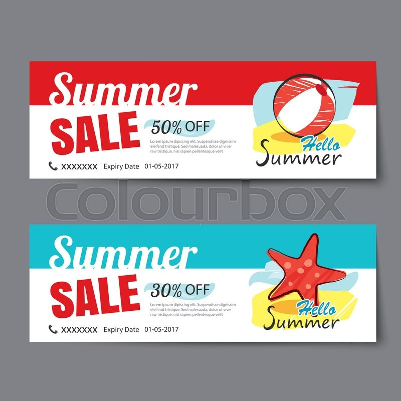 Summer sale voucher templateDiscount coupon Banner hand drawn flat