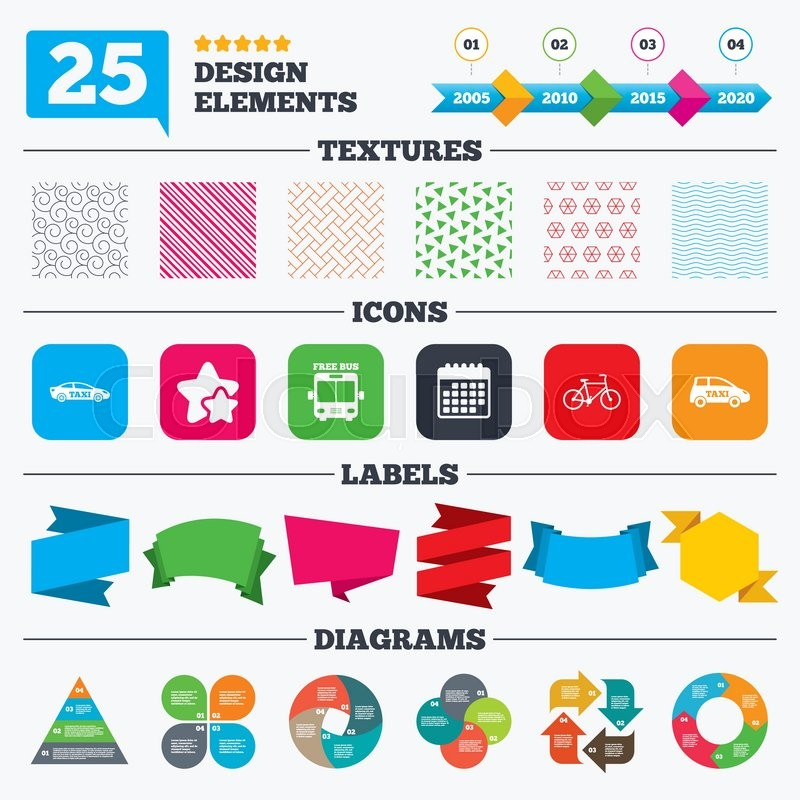 Offer sale tags, textures and charts Public transport icons Free