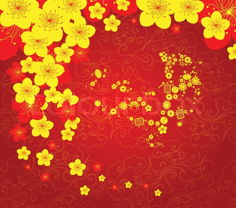Chinese new year template background Stock Vector Colourbox