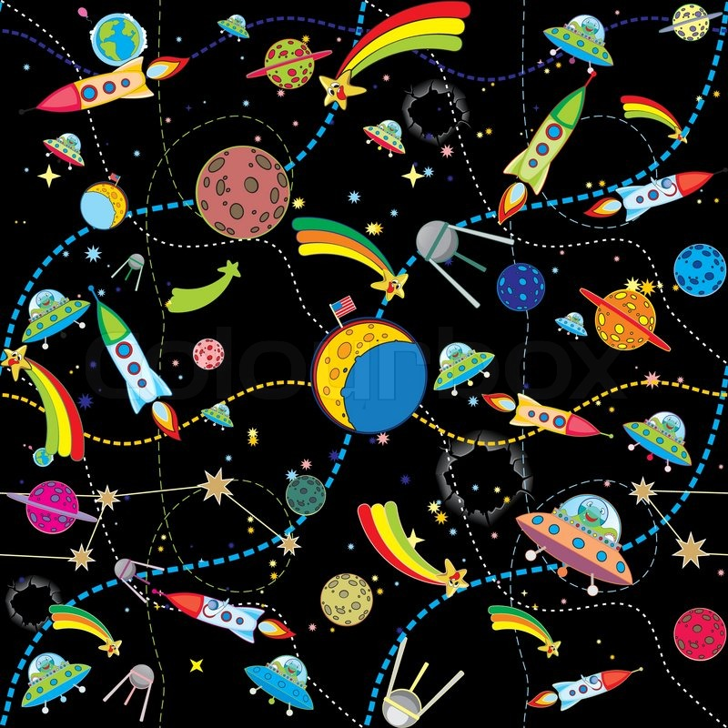 Cute Red Color Wallpaper Similar Black Space Background With Rockets And Planets