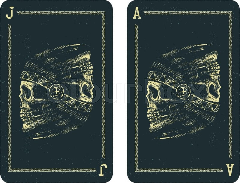Playing cards design Skull indian Stock Vector Colourbox