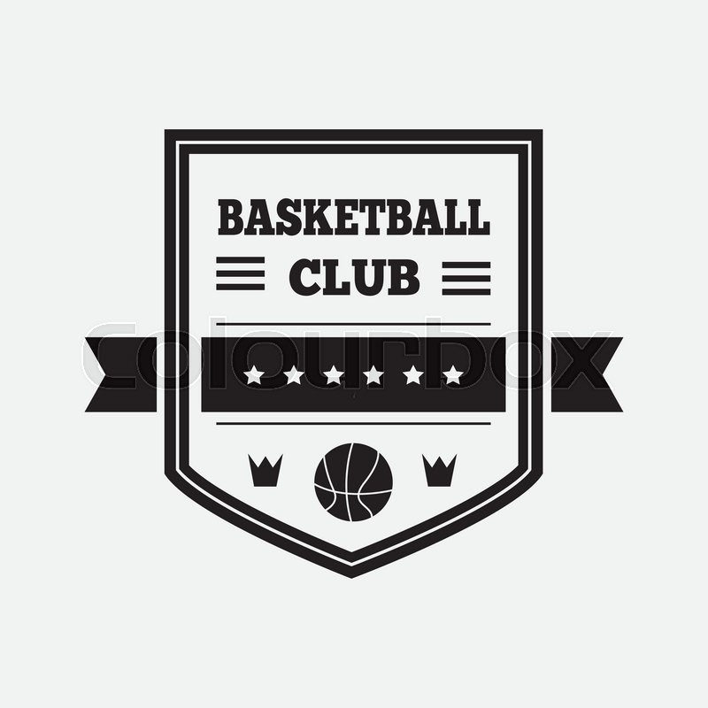 Basketball logo Basketball emblem template in flat design Stock - black and white basketball template