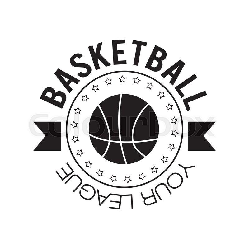 Basketball logo Basketball emblem template in flat design Stock - black and white basketball template