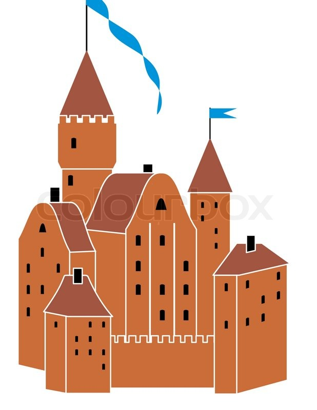 Vector medieval knight s castle isolated illustration on