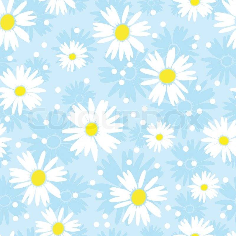 Seamless cute camomile background Vector illustration Stock