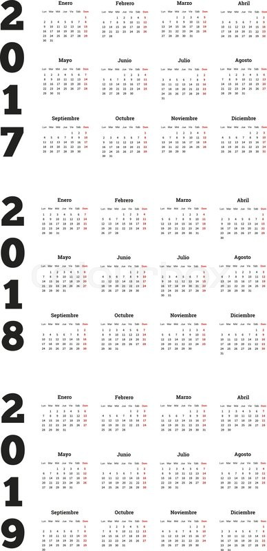 Set of simple calendars in spanish on 2017, 2018, 2019 years