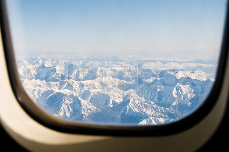 Interior Fotografie Winter In Den Bergen Aus Dem Flugzeug | Stockfoto