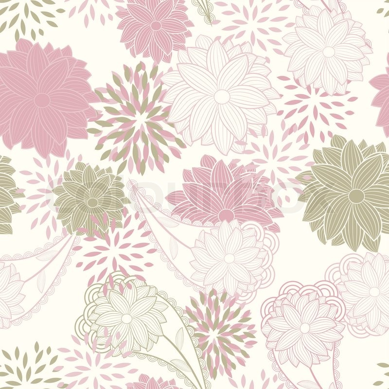 Cute Aqua Green Wallpaper Vector Seamless Floral Background Pattern Clipping Mask